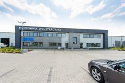 elewacja frontowa - hala produkcyjna z budynkiem biurowym, dla Irmark, Warszawa, woj. mazowieckie