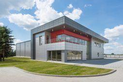widok ogólny 1 - hala magazynowa z budynkiem biurowym, dla Tech-Met, Kolonia Sokolniki