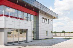 fragment elewacji frontowej - hala magazynowa z budynkiem biurowym, dla Tech-Met, Kolonia Sokolniki