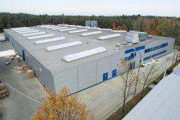 widok z lotu ptaka - hala produkcyjna, dla firmy Meblomaster, Węgrów, woj. mazowieckie