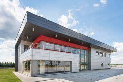 elewacja frontowa - hala magazynowa z budynkiem biurowym, dla Tech-Met, Kolonia Sokolniki