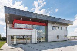 elewacja frontowa 1 - hala magazynowa z budynkiem biurowym, dla Tech-Met, Kolonia Sokolniki