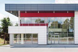 zbliżenie na część biurową 1 - hala magazynowa z budynkiem biurowym, dla Tech-Met, Kolonia Sokolniki