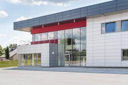 fragment elewacji frontowej 1- hala magazynowa z budynkiem biurowym, dla Tech-Met, Kolonia Sokolniki