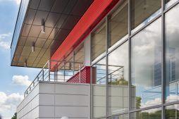 fragment elewacji części biurowej - hala magazynowa z budynkiem biurowym, dla Tech-Met, Kolonia Sokolniki