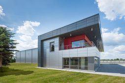 elewacja boczna - hala magazynowa z budynkiem biurowym, dla Tech-Met, Kolonia Sokolniki