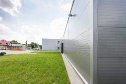 widok ściany bocznej - hala produkcyjno-magazynowa z budynkiem biurowym, dla Viva Plus, Bytom, woj. śląskie
