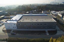 widok z góry - hala produkcyjna z częścią socjalną, dla Marva International, Poznań, woj. wielkopolskie