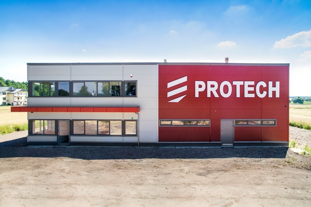 elewacja frontowa - hala produkcyjna z częścią biurową, dla Protech, woj. śląskie