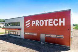 elewacja frontowa z perspektywy - hala produkcyjna z częścią biurową, dla Protech, woj. śląskie