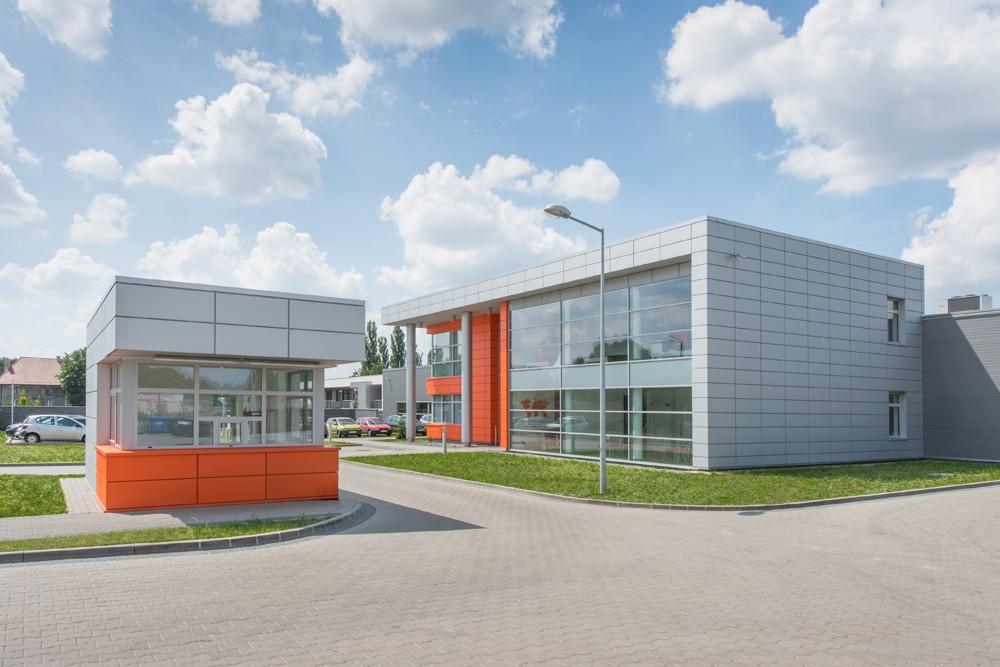 widok ogólny - hala produkcyjno-magazynowa z budynkiem biurowym, dla Viva Plus, Bytom, woj. śląskie