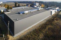 widok z lotu ptaka 1 - hala produkcyjna z częścią socjalną, dla Marva International, Poznań, woj. wielkopolskie