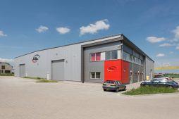 elewacja boczna - hala produkcyjna z częścią biurową, dla Pritip, Puławy, woj. lubelskie