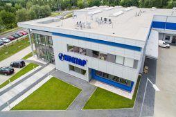 widok z góry na ścianę frontową - hala magazynowa z budynkiem biurowym, dla Hurtap SA, Głogów, woj. dolnośląskie