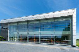 przeszklenia na elewacji frontowej 3 - hala produkcyjno-magazynowa z budynkiem biurowym, dla Polamp, Bieniewiec