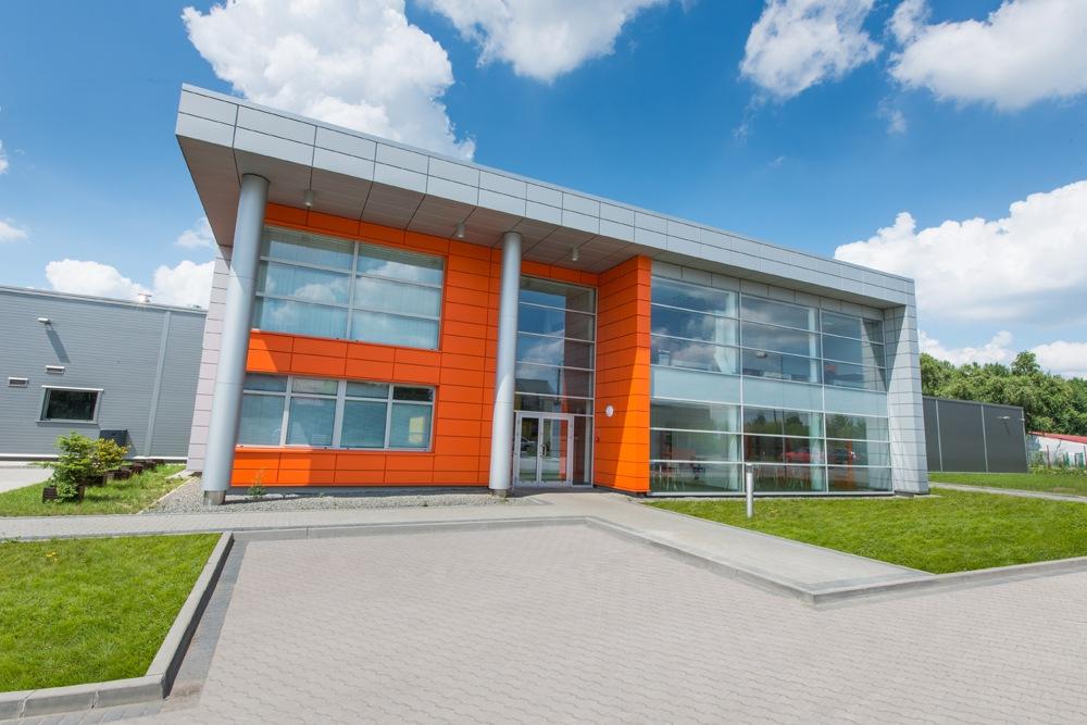 widok od frontu - hala produkcyjno-magazynowa z budynkiem biurowym, dla Viva Plus, Bytom, woj. śląskie