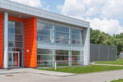 przeszklenia na elewacji frontowej 2 - hala produkcyjno-magazynowa z budynkiem biurowym, dla Viva Plus, Bytom