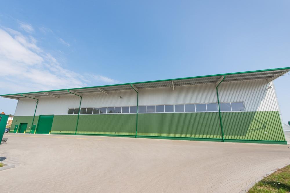 ściana frontowa - hala produkcyjna z częścią biurową, dla Markos, Słupsk, woj. pomorskie