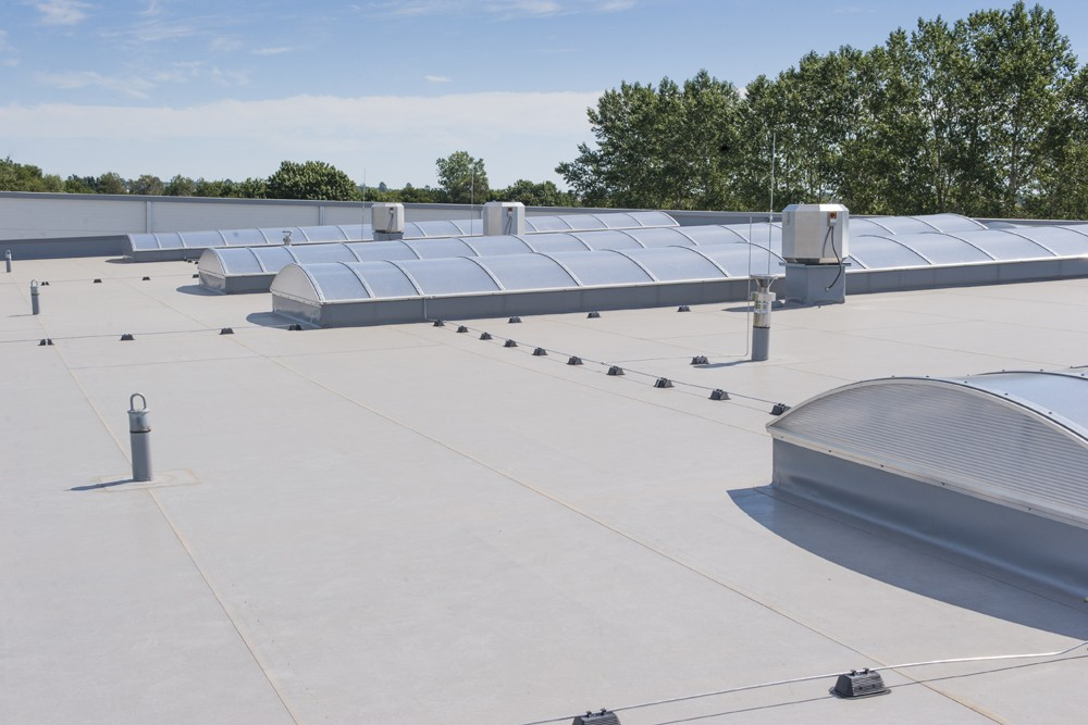 świetliki w dachu hali - hala produkcyjna z częścią biurową, dla Leann Stańczyk, Słupsk, woj. pomorskie