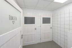 sanitariaty - budynek socjalno-biurowy, firma Van Den Block, Lublew Gdański, woj. pomorskie