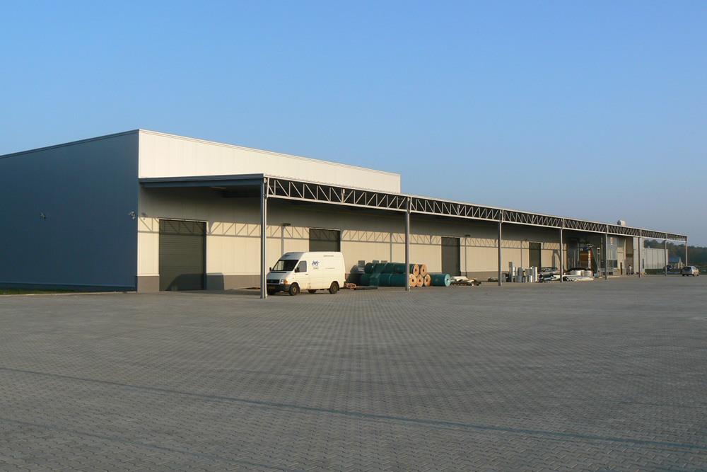 ściana tylna - hala produkcyjno-magazynowa z budynkiem biurowym, dla HG Poland, Łozienica, woj. zachodniopomorskie