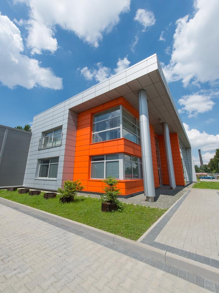 widok ogólny 1 - hala produkcyjno-magazynowa z budynkiem biurowym, dla Viva Plus, Bytom, woj. śląskie