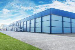 ściana frontowa i boczna - hala produkcyjna z budynkiem biurowym, dla Futrex, Żdżary, woj. zachodniopomorskie