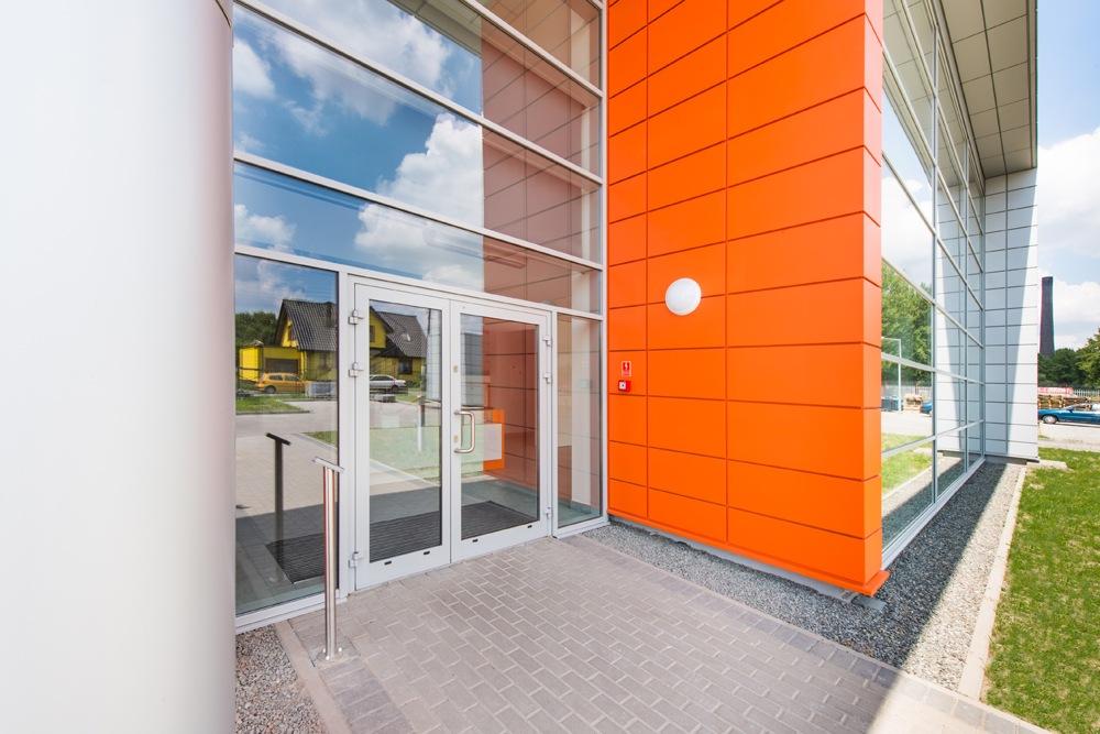 wejście główne - hala produkcyjno-magazynowa z budynkiem biurowym, dla Viva Plus, Bytom, woj. śląskie