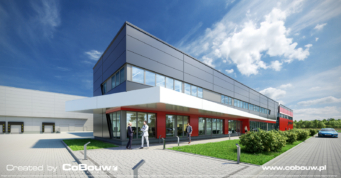 zadaszenie nad częścią biurową obiektu - wizulizacja, hala stalowa dla branży automotive, Bukowiec, woj. łódzkie