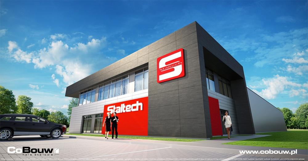wizualizacja buydnku biurowego - hala produkcyjna z budynkiem socjalno-biurowym, Jabłonna, dla Staltech, woj. łódzkie