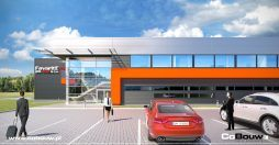 wizualizacja ściany frontowej - hala produkcyjna z budynkiem biurowym, dla Favorite Gifts, Bolesławiec
