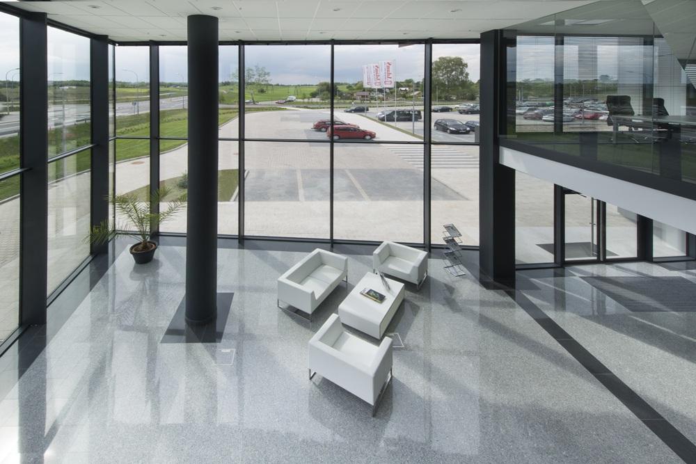 widok z góry na hol wejściowy - hala produkcyjna z budynkiem biurowym, dla Adams, Mrągowo