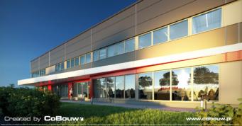 wizualizacja, zbliżenie na wejście główne do biurowca - hala stalowa dla branży automotive, dla firmy Intap, w Bukowcu, woj. łódzkie