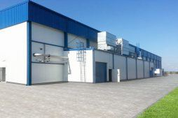ściana frontowa - hala produkcyjna z budynkiem biurowym, dla Futrex, Żdżary, woj. zachodniopomorskie