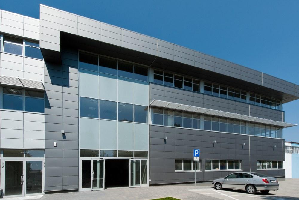 elewacja budynku biurowego - hala magazynowa z budynkiem biurowym, dla Refleks, Białystok, woj. podlaskie