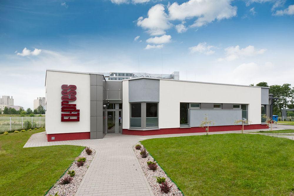 ściana frontowa 1 - hala produkcyjna z budynkiem biurowym, dla El-press, Lublin, woj. lubelskie