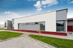 ściana frontowa - hala produkcyjna z budynkiem biurowym, dla El-press, Lublin, woj. lubelskie