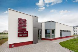 elewacja frontowa - hala produkcyjna z budynkiem biurowym, dla El-press, Lublin, woj. lubelskie
