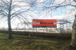 baner firmowy na tle konstrukcji hali - hala stalowa dla firmy Wet-Art, Gorzów Wlkp.
