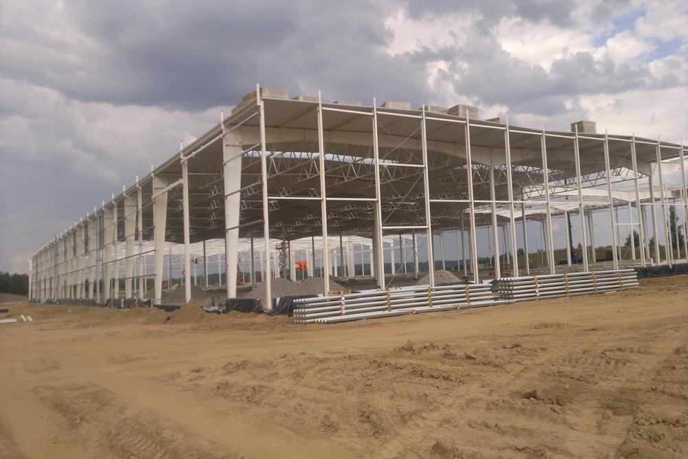 konstrukcja hali stalowej - hala produkcyjna z budynkiem biurowym, dla Adams, Mrągowo, woj. warmińsko-mazurskie