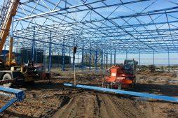 wznoszenie elementów konstrukcji stalowej 1 - hala produkcyjna z budynkiem biurowym, Żdżary, dla Futrex