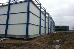 ściana boczna i tylna - hala produkcyjna z budynkiem biurowym, Żdżary, dla Futrex