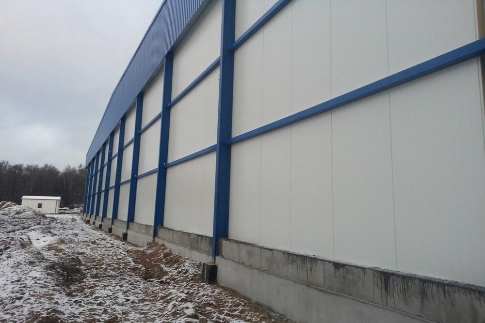 fragment ściany bocznej - hala produkcyjna z budynkiem biurowym, dla Futrex, Żdżary, woj. zachodniopomorskie