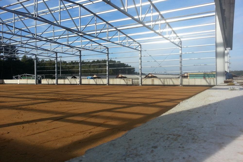 konstrukcja hali w trakcie budowy - hala magazynowa, dla Inwestora zagranicznego, Radachów