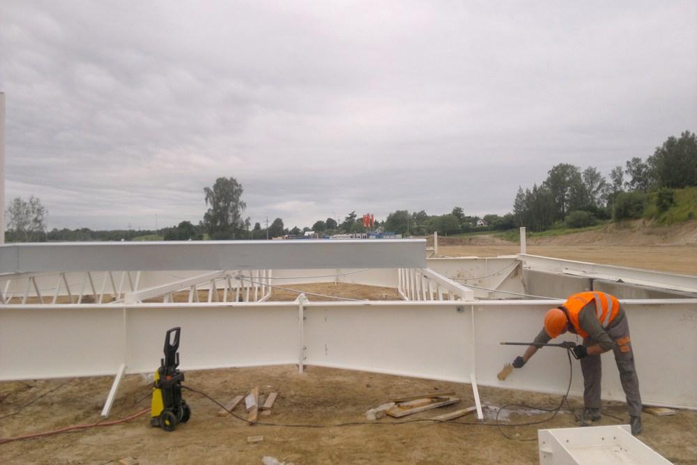 konstrukcja stalowa dachu - hala produkcyjna z budynkiem biurowym, dla Adams, Mrągowo, woj. warmińsko-mazurskie