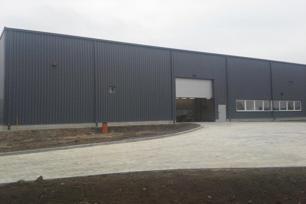 elewacja budynku - hala produkcyjna z częścią biurową, dla Nome, Mników, woj. małopolskie