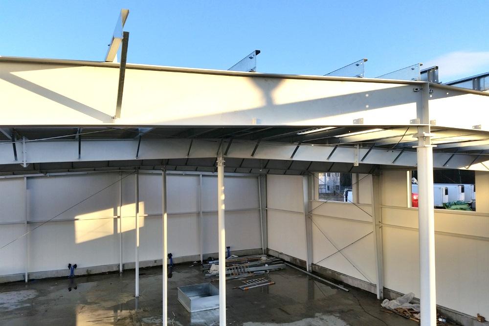 konstrukcja nośna hali głównej - hala magazynowa, Firma MIRA-LUX, Klaudyn, woj. mazowieckie