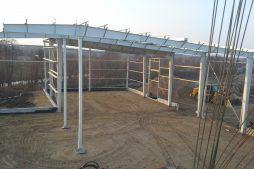 wykonanie konstrukcji nośnej dachu i ścian - hala magazynowa, Firma Telmex, Pisz
