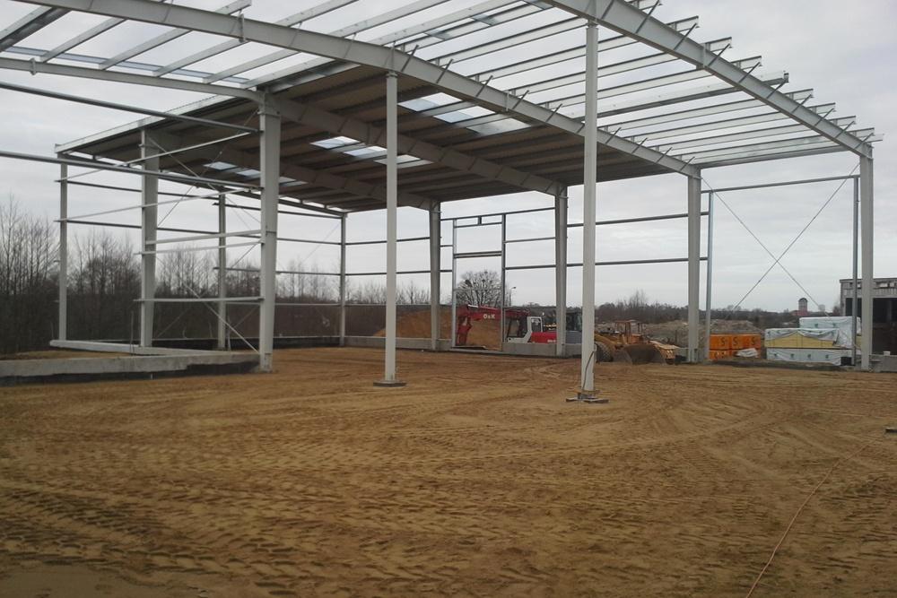 konstrukcja hali dwunawowej - hala magazynowa, Firma Telmex, Pisz, woj. warmińsko-mazurskie