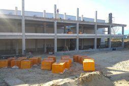 widok konstrukcji od frontu - hala magazynowa z budynkiem biurowym, dla Koesters & Meyer, Malanów